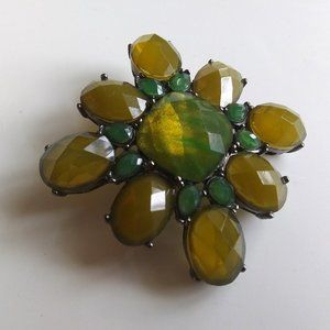 Olive and Green Retro Gem Brooch